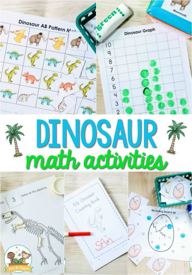 Dinosaur Math Activities For Preschool Pre K Pages Math