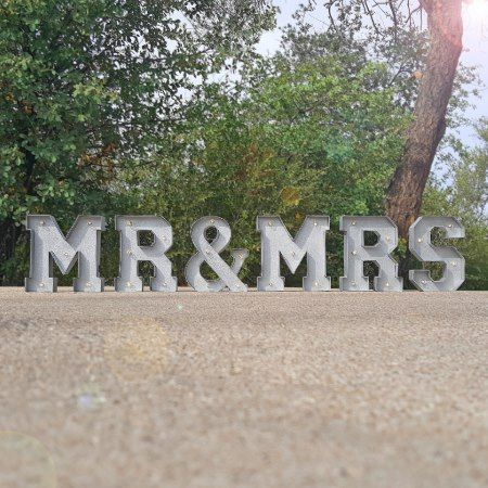 9' tall - MR & MRS - Metal Marquee Sign Lights - click/tap to personalize and buy