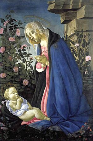 """""""Madonna Of The Roses"""" -- Circa 1470 -- Sandro Botticelli (Alessandro di Mariano di Vanni Filipepi) (1445-1510, Italian) -- Tempera -- Uffizi Gallery -- Florence, Italy"""