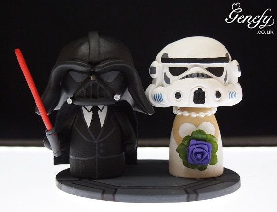 Cute wedding cake topper - Darth Groom and Storm Bride