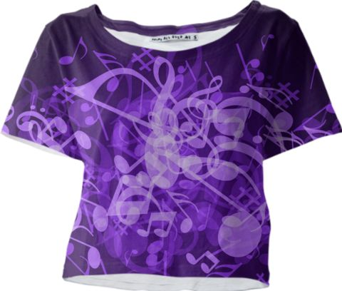 0000000P/Purple Glow Music Notes Crop Tee