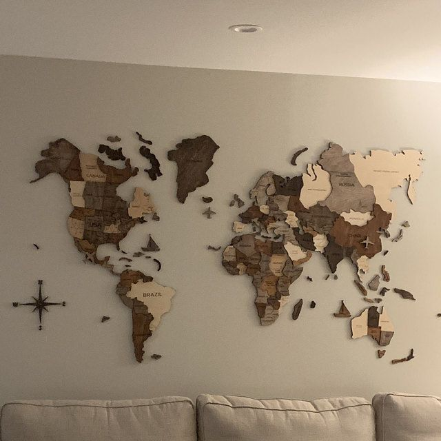 Wooden World Map Of The World Wall Art Decor Home Rustic Etsy Map Wall Art Decor Map Anniversary Gift Wall Maps
