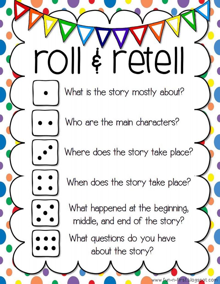 "Focus: Comprehension- retelling Directions: Students will get in partners and roll the dice. They will retell based on what it lands on. Example: Student rolls a 4. ""The story took place in Sue's backyard."" Source: http://applefortheteach.blogspot.com/2014/03/roll-and-retell-building-summarizing.html"