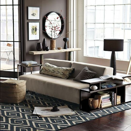 Brown blue n grey. Rug is too dark for our space, but a lighter shade might work.