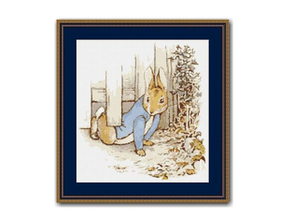"The Tale of Peter Rabbit #6 Cross Stitch Pattern / Chart, Beatrix Potter, ""Under The Gate"", Mr. McGregor's Garden, Instant Download  (BP006)"
