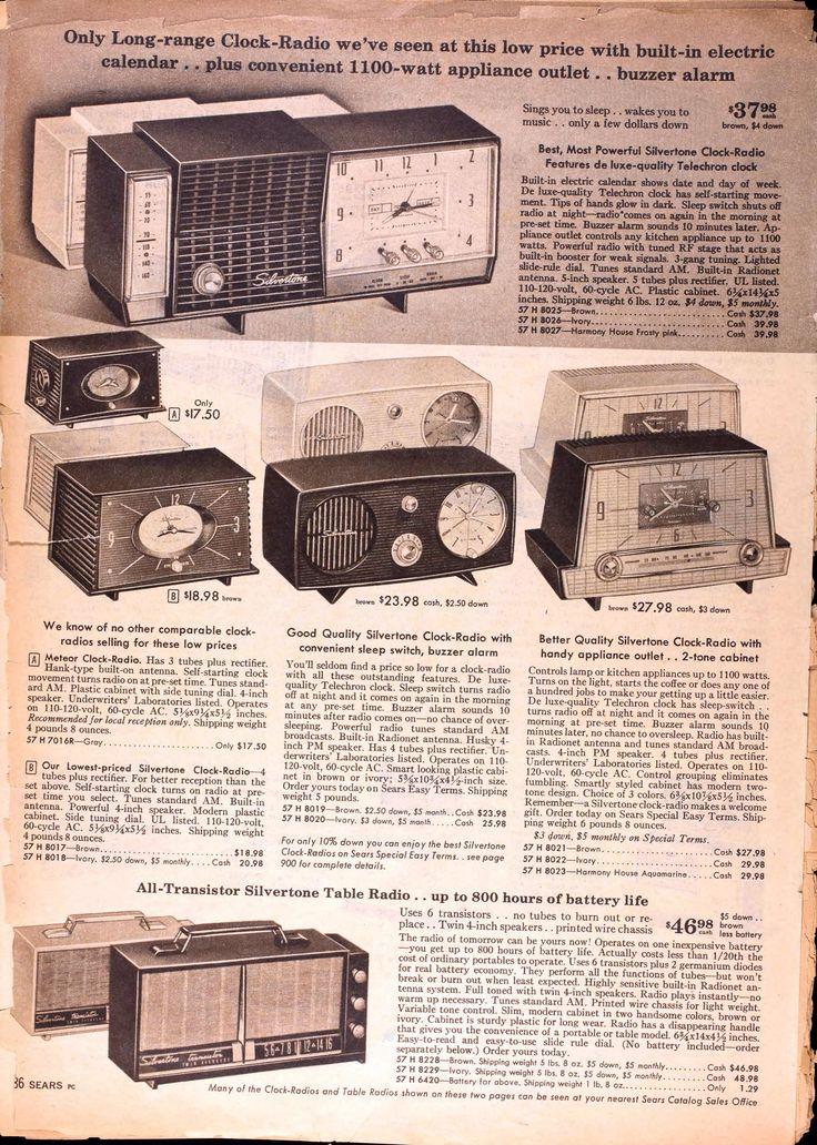 Sears Catalog, Spring/Summer 1958 - Radios and Clocks