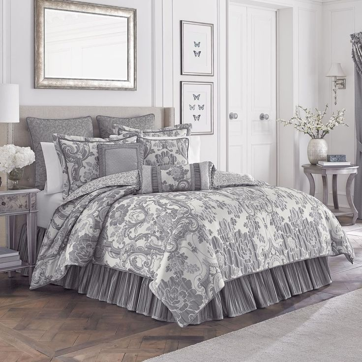 The Everly Bedding Collection exudes elegance in shades of ivory and platinum. #Croscill #HomeDecor