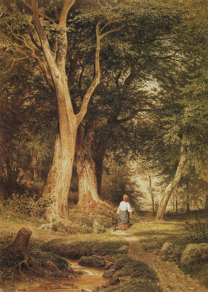 A woman with a boy in the forest, 1868 Ivan Shishkin