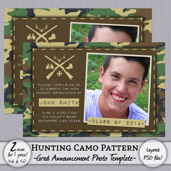 Hunting Camouflage Graduation Announcement  4x6  5x7 by SRFdesigns
