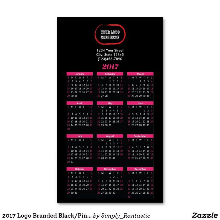 2017 Logo Branded Black/Pink Magnetic Calendar
