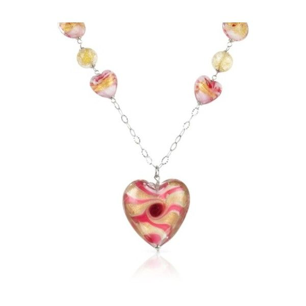 House of Murano Designer Necklaces Vortice - Pink Murano Glass... ($198) ❤ liked on Polyvore featuring jewelry, necklaces, sterling silver, handcrafted sterling silver jewelry, sterling silver heart necklace, sterling silver heart jewelry, murano glass necklace and heart shaped jewelry
