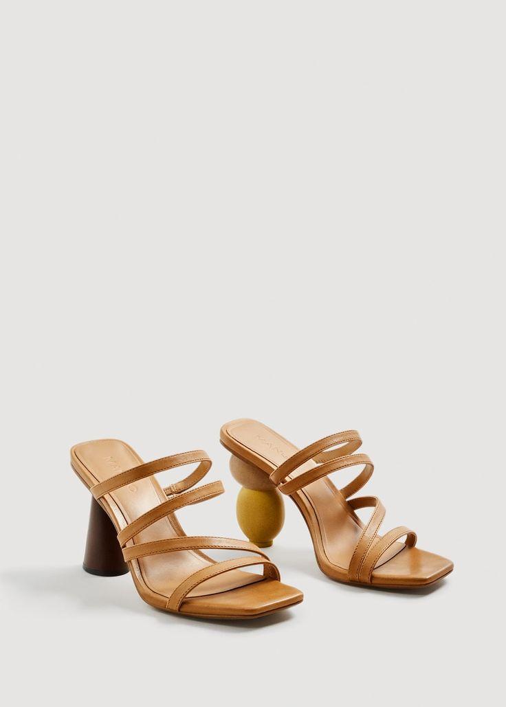 Geometric heel leather sandals - Woman | MANGO Greece