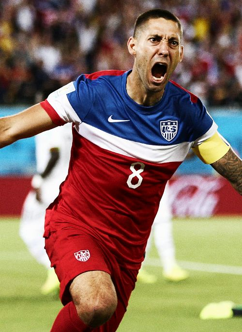 Clint Dempsey after scoring the fastest goal in us History vs Ghana!!!!!!!!!! Go USA even though we lost to Belgium!!!1