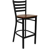 Hospitality Stool - Black Metal - Ladder Back - Cherry Finished Wood Seat - 16 pk.