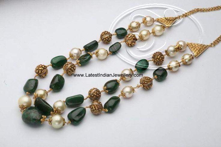 emerald pearl nakshi beads chain