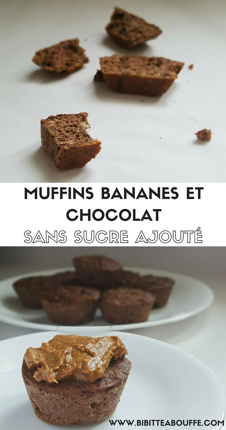 Muffins aux bananes et chocolat (sans sucre ajouté, sans gluten, paléo)   www.bibitteabouffe.com