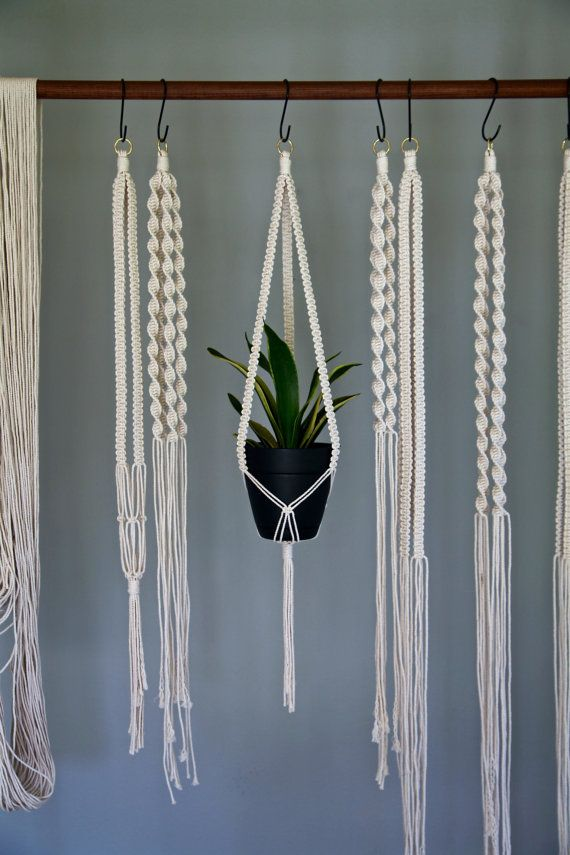 "Macrame Plant Hanger - 35"" Knotted - Natural White Cotton Rope - 3 Strand Indoor Hanging Planter"