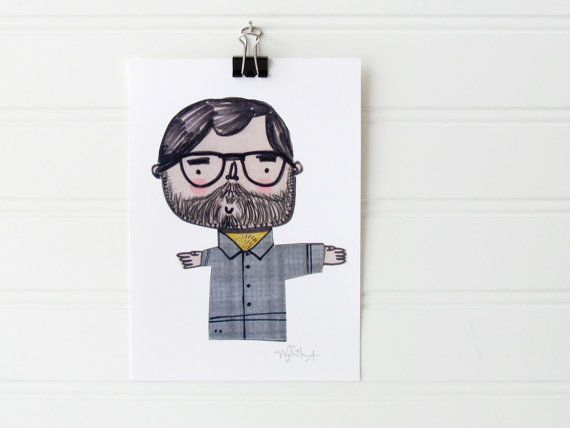 Nerdy Bearded Guy Print - Cute Nerd Doodle illustration - Cute Nerd Digital Art Print - ATC, Artist Trading Cards - Whimsical theme decor