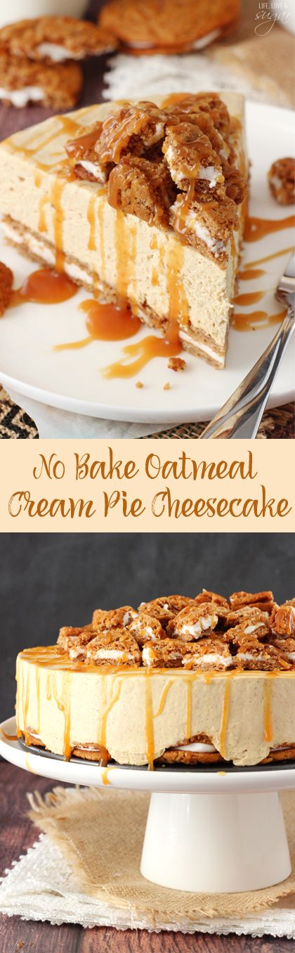 No Bake Oatmeal Cream Pie Cheesecake - cream pies as the crust with a spiced no bake cheesecake and caramel drizzle!: