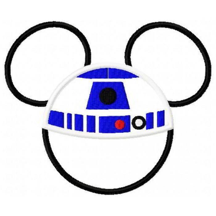 Mouse Head R2D2 Applique Design