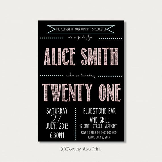 Custom 21st Birthday Invitation by DorothyAlvaPrint on Etsy, $12.00
