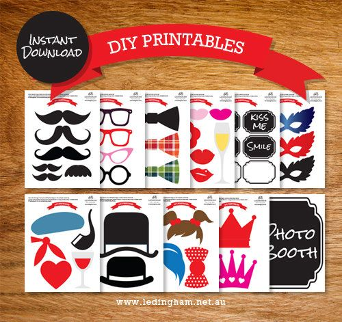 Sale - INSTANT DOWNLOAD - DIY Mustache Photo booth Props - Printable Lips Glasses - Moustache party printable photobooth decorations