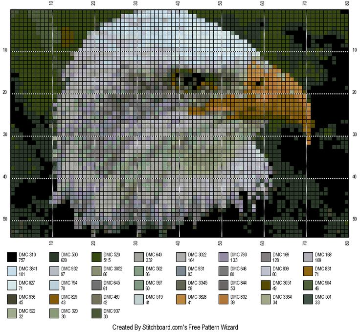 pinterest cross stitch eagle patterns free | This last eagle cross stitch pattern is that of one in flight, the ...