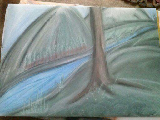 paysage paisible pastelle sèche