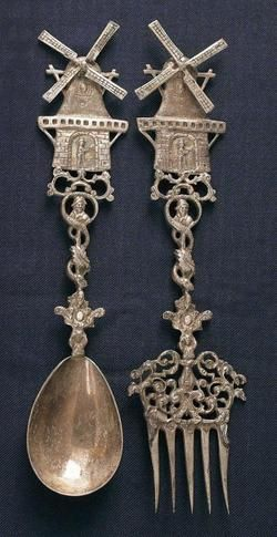 Origin: Netherlands Year: 1895 - 1905 A Dutch silver fork and spoon with windmill terminal on handle, circa 1900.
