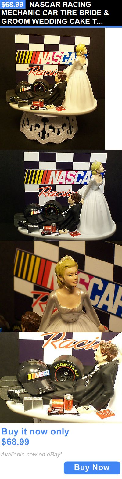 Wedding Cakes Toppers: Nascar Racing Mechanic Car Tire Bride And Groom Wedding Cake Topper Sports Funny BUY IT NOW ONLY: $68.99