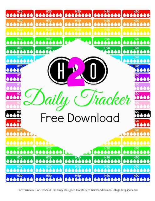 Free Printable Daily Water Tracker Planner Sticker Andrea Nicole Blogs