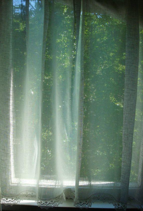 White Linen curtain linen panels kitchen linen cafe by Luxoteks
