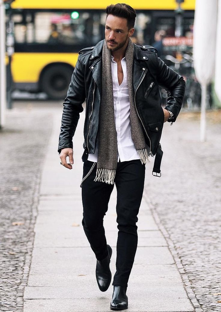 Daniel Fuchs. Leather Jacket, White Shirt, Black Jenas, Gray Scarf. Shop at designerclothingfans.com