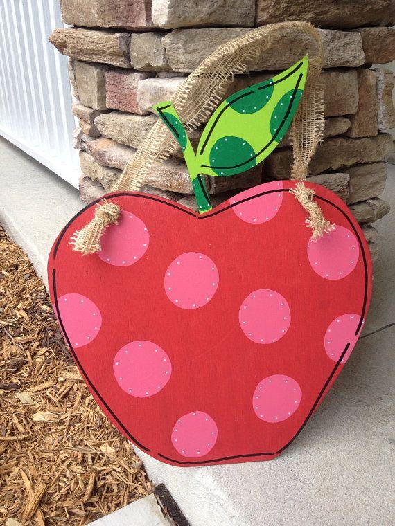 "20"" Shabby Chic Apple Cutout Door Hanger, Custom Order on Etsy, $25.00"