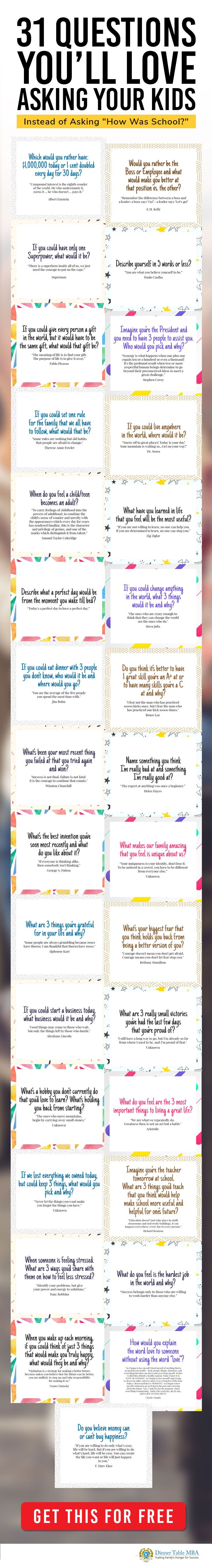 Here's 31 questions for Kids that every parent will love. Included are talking points and awesome stories for each question that you're kid will love.
