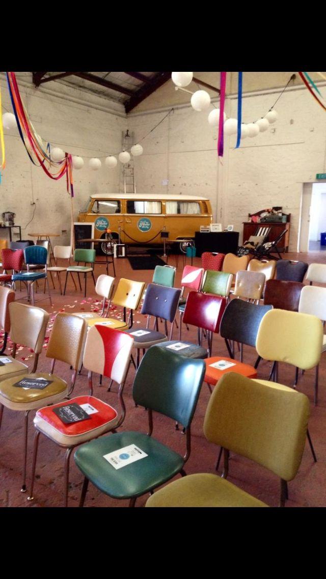Kombi van photobooth retro chairs retro wedding ideas