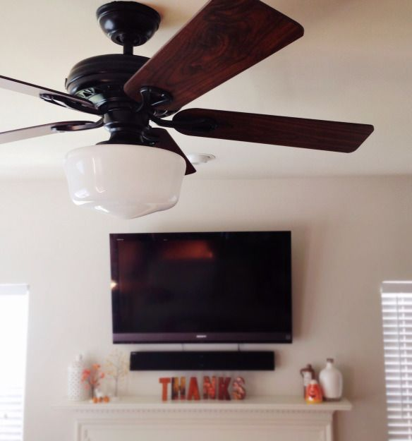 "Hunter Savoy ceiling fan, black and Hunter 12"" Schoolhouse light, black"