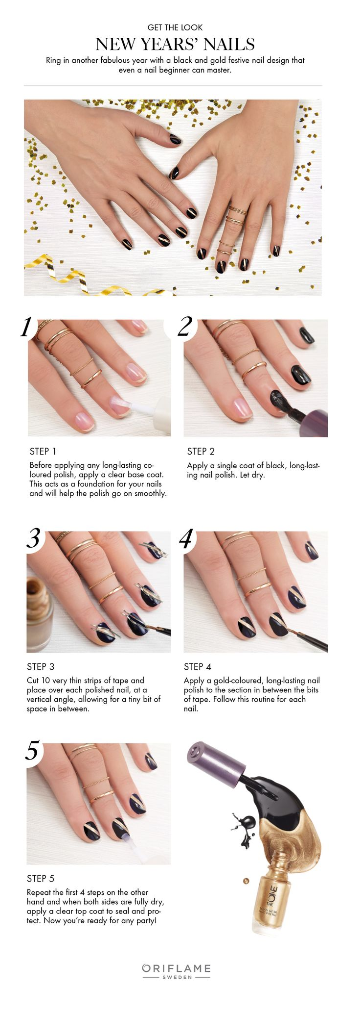 Ring in another fabulous year with a black and gold festive nail design that even a nail beginner can master!