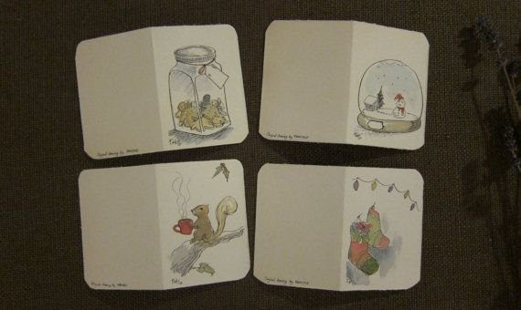 Christmas cars, Set of 'To-from' Hand made cards original artwork by by Fahfield, kr45.00