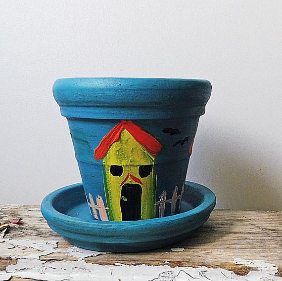 Planter Gifts  Hand Painted Pots  Blue Painted Clay Pots