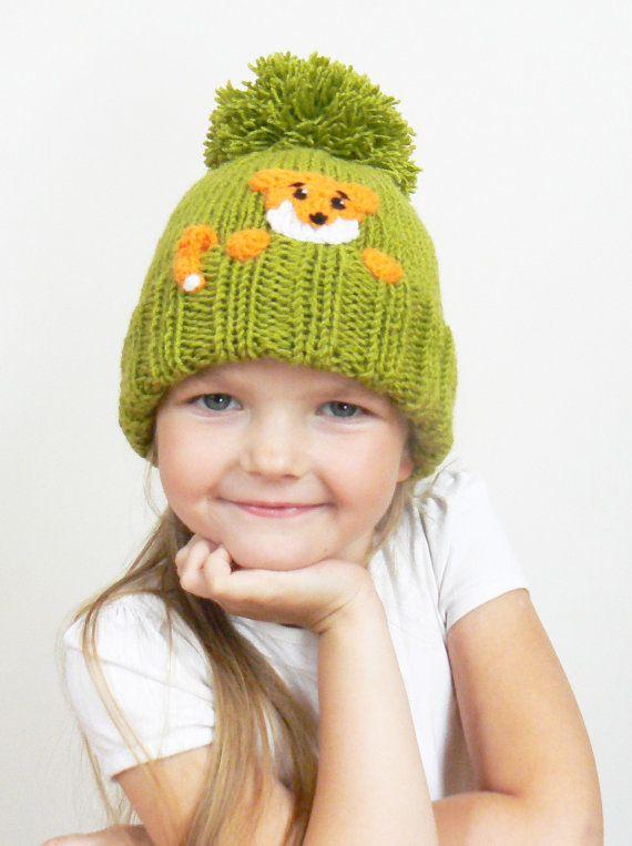 Knit Kids Pom Pom Hat with FOX, Girls Boys Winter Hat, Green Orange, Cute Children Fall Winter Accessory, Kids Fashion,  Ready to ship