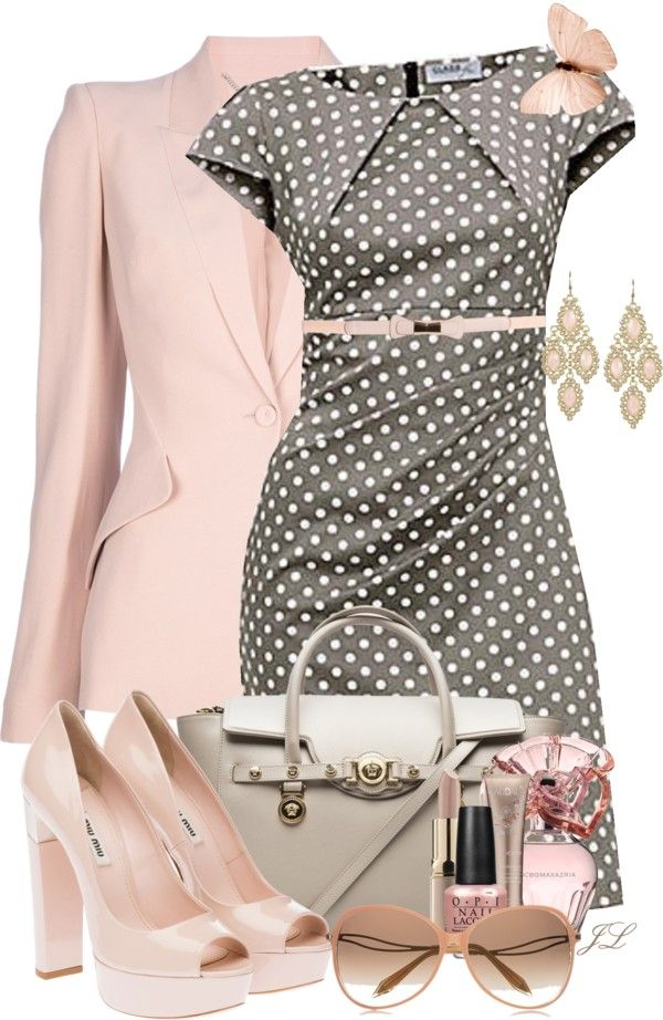 """Butterfly Inspiration"" by jenalind on Polyvore....  Pink and polka dots"