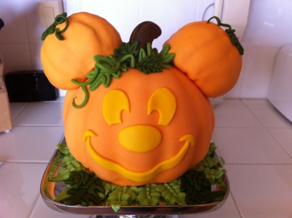 Disney Mickey Mouse Halloween Pumpkin Cake based on Disneyland design used for Mickey's Halloween Party.