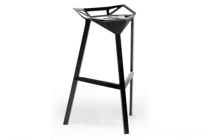 Baxton Studio Kaysa Black Aluminum Modern Bar Stool - Set of 2