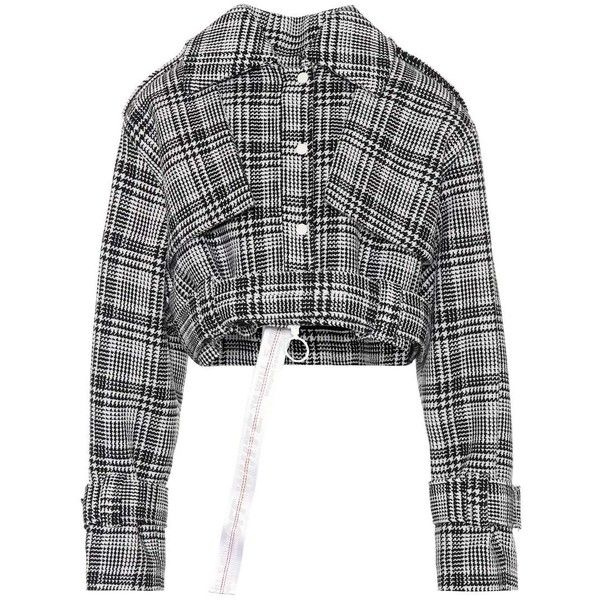 Off-White Cropped Plaid Jacket ($1,595) ❤ liked on Polyvore featuring outerwear, jackets, coats & jackets, suit, black, plaid jacket, cropped jacket, tartan jacket and off white jacket