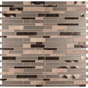 MS International Champagne Toast Interlocking 12 in. x 12 in. x 4 mm Glass/Metal/Stone Mesh-Mounted Mosaic Tile SGLSMTIL-CHATST at The Home Depot - Mobile