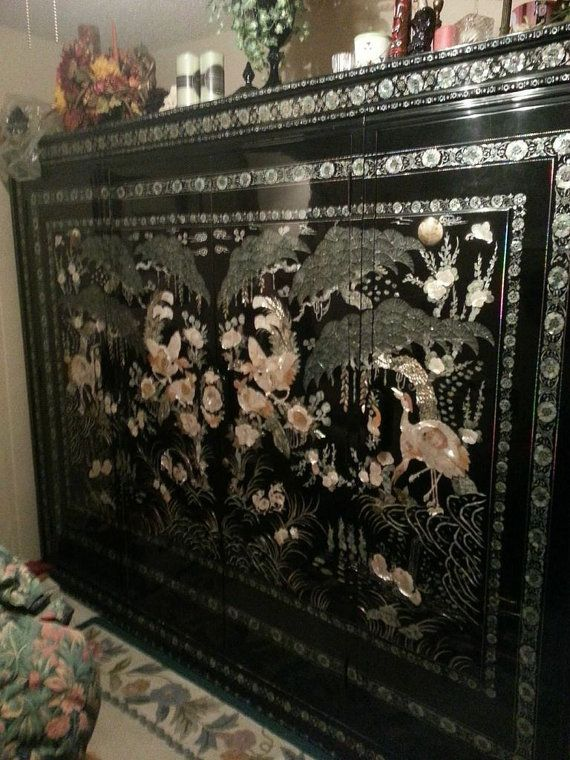 Items Similar To Korean Black Lacquer Mother Of Pearl Inlay Armoire On Etsy