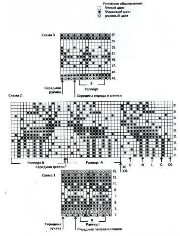 Схема вязания свитер с оленями в бело-розовой гамме раздел спицами вязаные кофты спицами со схемами