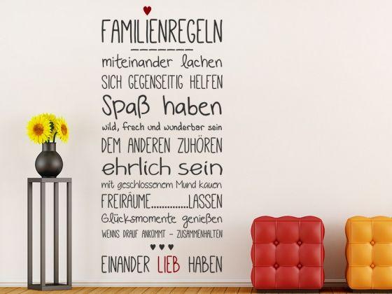 Wandtattoo Familienregeln mit Herz  Familienregeln ---------- miteinander lachen sich gegenseitig helfen Spaß haben wild, frech und wunderbar sein dem anderen zuhören ehrlich sein mit geschlossenem Mund kauen Freiräume..........lassen Glücksmomente genießen wenns drauf ankommt - zusammenhalten ♥♥♥ einander lieb haben #Familie #Regeln #Spruchband