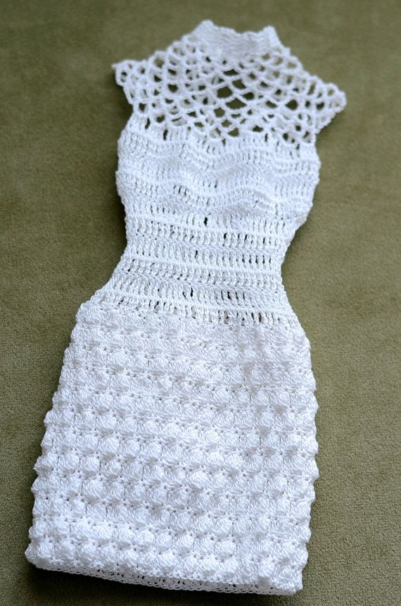 Crocheted dress in white color for 16 dolls. Would fit Tonner Tyler and friends, JamieShow, Sybarite. Made of 100% cotton thread Clothes with small metal snaps on back. Dolls Dress only, no other items included.